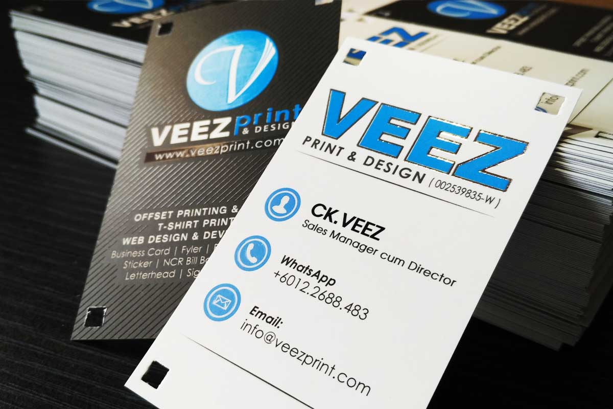 Veez print design kl setapak printing label design printing veez print design name card 260gsm art card with matt lamination spotuv reheart Images